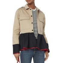 Harvey Faircloth Khaki Military Jacket Navy Silk Cuff Peplum Trim Size L Photo