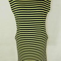 Harvey Faircloth Navy Yellow Stripe Jersey Stretch Tank Dress Lined 4 New Photo