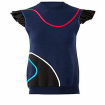 Harvey Faircloth Women's Sweatshirt Blue Size Xs Flutter Sleeve Piped 395- 152 Photo