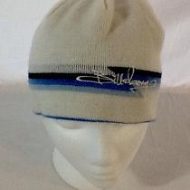 Hat Billabong White Blue Black Stripe Wool Beanie Cap Knit Winter Reversible Euc Photo