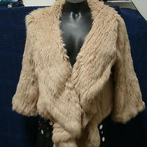 Haute Hippie Beige Rabbit Fur Hooded Crop Jacket Size S Photo