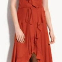 Haute Hippie Ruffled Silk Wrap Dress Sunset Hhsu11-3020 Medium  Photo