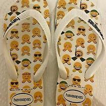 Havaianas Flip Flop Sandals White Emoji Smiley Faces Size 9/10 Women- Size 8 Men Photo