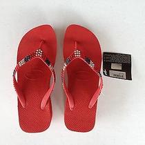 Havaianas Flip Flop Swarovski Crystal - High Wedge Red - Sale 80 - Size 6 / 6.5 Photo
