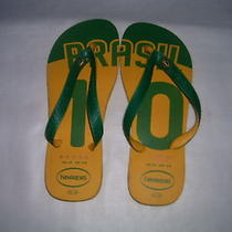 Havaianas Flip Flops Green Yellow Brasil Soccer 10 Us 4/5 Eur 37   Photo