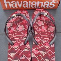 Havaianas Flip Flops Slim Royal Floral Red and Gold  Usa 7/8 W New With Box Photo