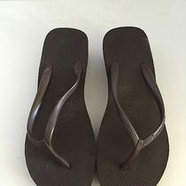 Havaianas High Brown Wedge Flip Flops Size 41/42 Us 9/10 Euc Photo