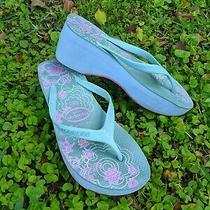 Havaianas High Wedge Platform Flip Flops Green/pink Floral Women's Size 5-6 Photo