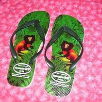 Havaianas Ipe New Women's Flip Flop Sandal Shoes Lion Tamarin Faced Black Size 6 Photo