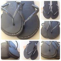 Havaianas Sandals With Custom Black Rhinestone Photo