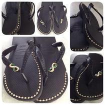 Havaianas Sandals With Custom Gold Rhinestone Chain Inlays Photo