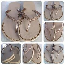 Havaianas Sandals With Custom Gold Rhisnestone Chain Inlays. Photo