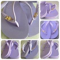 Havaianas Sandals With Custom Rhinestone Chain Inlay Photo