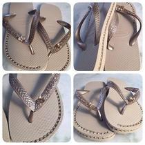 Havaianas Sandals With Custom Rhinestone Chain Inlays. Photo