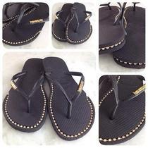 Havaianas Sandals With Custom Rhinestone Chain Inlays Photo