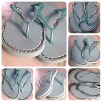 Havaianas Sandals With Custom Rhinestone Chain Inlays.. Photo
