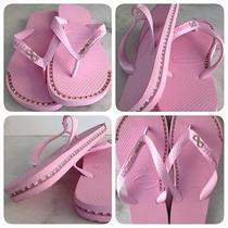 Havaianas Sandals With Custom Silver Rhinestone Chain Inlay Photo