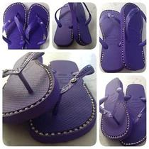 Havaianas Sandals With Custom Silver Rhinestone Chain Inlay. Photo