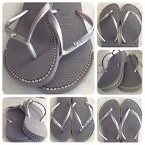 Havaianas Sandals With Custom Silver Rhinestone Chain Inlays. Photo