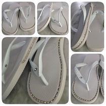 Havaianas Sandals With Custom Silver Rhinestone Chain Inlays Photo