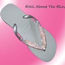 Havaianas Silver Flip Flops or Wedge With Swarovski Crystals Bridal Wedding Shoe Photo