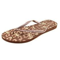 Havaianas Slim Animals Womens Size 7 Brown Flip Flops Sandals Shoes - No Box Photo