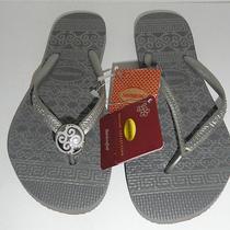 Havaianas Slim Ceramic Grey Flip Flop Size 6 Sandals Metallic New Missing Emblem Photo
