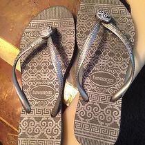 Havaianas Slim Ceramic Silver Womens Sandal Flip Flop Size 37-38 Photo
