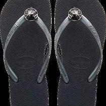 Havaianas Slim Flower Womens Flip Flop Sandals Black New With Tags Size 7/8 Photo