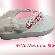 Havaianas Tiny Flip Flops With Swarovski Crystals Perfect for Baby Shower Gift. Photo