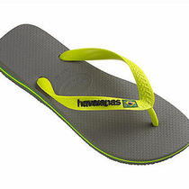 Havaianas Womens Flip Flops Sale Brazil Logo Sandals Grey / Lime Sizes 7-8 Nwt Photo