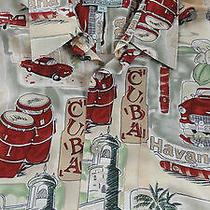 Havana Cuba Campia Shirt Xl Vintage Cars Drums Palms Tower 100% Rayon Mint   Photo