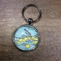 Havana Cuba Pinar Del Rio Marianao Map Key Ring Keychain Silver Vntg Atlas Photo
