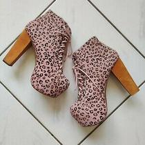 Havana Last Jeffrey Campbell Lita Pink Fur Leather Platform Heels Bootie Size 9m Photo