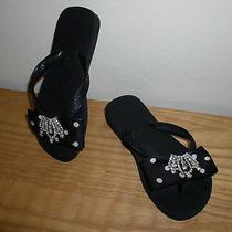 Havianas Girls Flip Flop Sandals Us Size 1 Rhinestone Bling Black 31/32 Photo