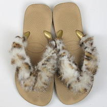 Havianas Rabbit Fur Flip Flops Sandals (7) Solid Everyday Summer Spring  Photo