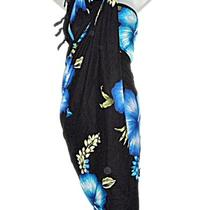 Hawaiian Beach Hibiscus Long Black Blue Aqua Sarong Luau Beach Coverup Pareo New Photo