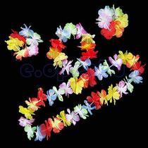 Hawaiian Luau Beach Party Flower Lei Fancy Dress Necklace Hula Garland Bracelet Photo