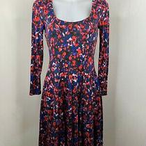Hd in Paris Anthropologie  Red & Blue Abstract Fit and Flare Dress  Size Xs Photo
