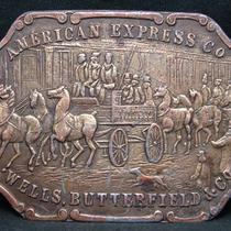 Hd24114 Vintage 1970s Bergamot American Express Co Aged Brasstone Buckle Photo