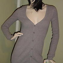 Heather Gray Long Sleeve Button Front Tunic Tee Top M Photo