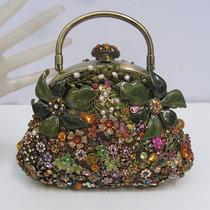 Heavily Jeweled Swarovski Crystal Enamel Purse Butterfly Flowers Art to Wear Photo
