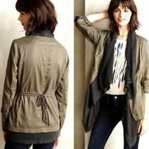Hei Hei Anthropologie Cascade Anorak Green Utility Grey Scarf Layered Jacket S Photo