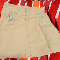 Hei Hei Khaki Skirt W/aqua Trim - Size 6 Photo