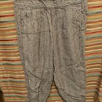 Hei Hei Linen Cropped Pants Womens Size Xs Brown With Gray Stripe Anthropologie Photo