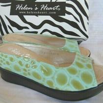 Helens Heart Open Toe Wedge Shoes Aqua Blue Green Croc Gator Print Sz 6 Nwob Photo