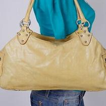 Helen Welsch Italy Medium Yellow Leather Shoulder Hobo Tote Satchel Purse Bag Photo