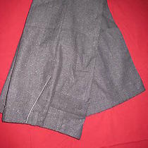 Helena Sorel Wide Leg Grigio W/silver Metallic Threads Pants Trouserssz42/m Us Photo