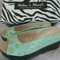 Helens Heart Open Toe Wedge Shoes Turquoise Blue Green Croc Snake Sz 11 Nwob Photo