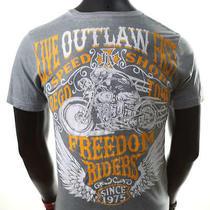 Helix Brand Outlaw Speed Shop Motorcycle Biker Ufc Express Lucky T-Shirt Mens S Photo